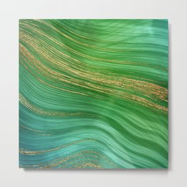 Green Mermaid Glamour Marble With Gold Veins Metal Print