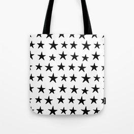 Star Pattern Black On White Tote Bag