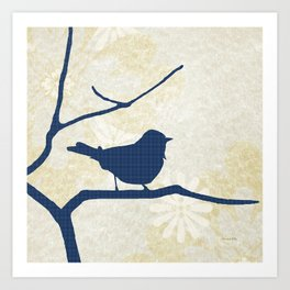 Blue Silhouette Bird Art Print