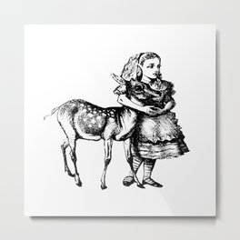 Alice and the Fawn in Black with Transparent Background Metal Print