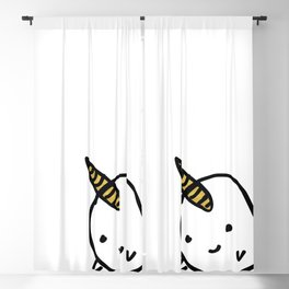 CUTE NARWHAL - GOLD HORN Blackout Curtain