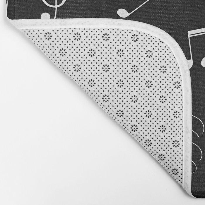 Music White and Black Bath Mat