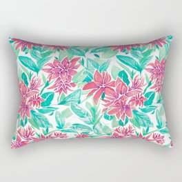 Ixora Hybrid Crimson Star Watercolor Pattern Rectangular Pillow