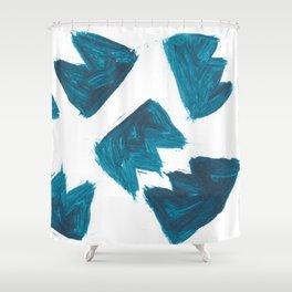 Basquiat Crown, Abstract, Blue Duck Shower Curtain