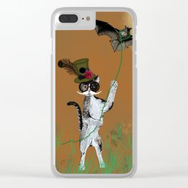 Cat Walking His Bat Clear iPhone Case