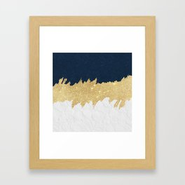 Navy blue white lace gold glitter brushstrokes Framed Art Print