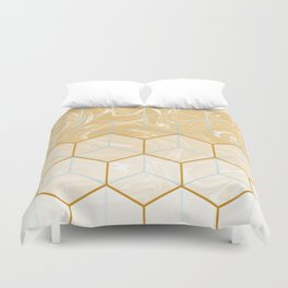 Geometric Effect Caramel Marble Design Duvet Cover