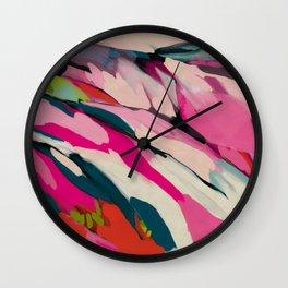 mountain landscape in pink Wall Clock