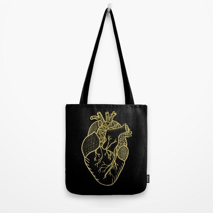 Designer Heart Gold Tote Bag