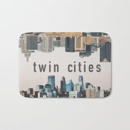 Twin Cities Minneapolis and Saint Paul Minnesota Skylines Bath Mat