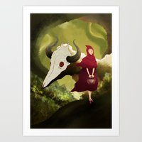 red hood Art Prints featuring red hood by R,oh