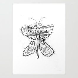 Butterfly with girl Art Print