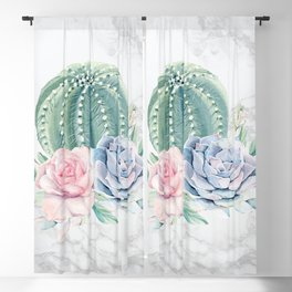 Cactus Rose Succulent on Marble by Nature Magick Blackout Curtain