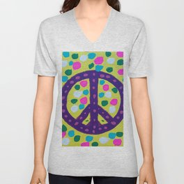 Colorful Abstract Peace Sign Unisex V-Neck