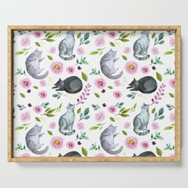 Watercolor Cats and Flowers Pattern Serving Tray