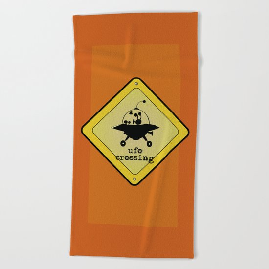 UFO crossing sign Beach Towel