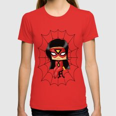 Chibi Spider Woman MEDIUM Red Womens Fitted Tee