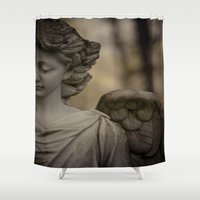 religious Shower Curtains featuring Angel by Maria Heyens