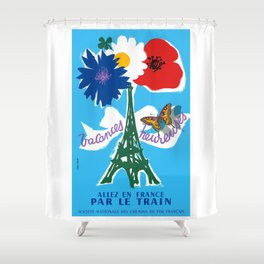 1954 France Happy Holidays Railway Travel Poster Shower Curtain
