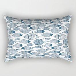 Blue Fish White Rectangular Pillow