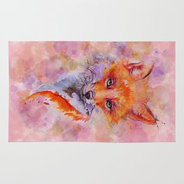 Watercolor colorful Fox Rug