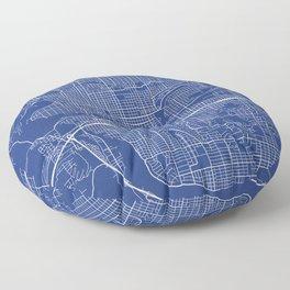 Spokane Map, USA - Blue Floor Pillow