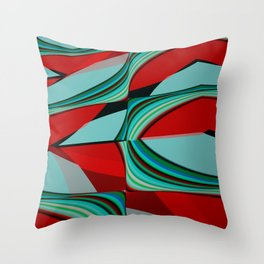 Modern abstract in red and sea tones Throw Pillow