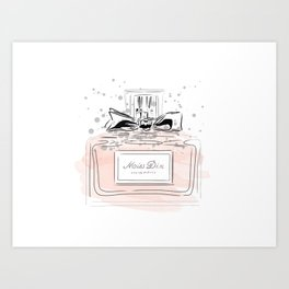 Perfume bottle with bow Art Print