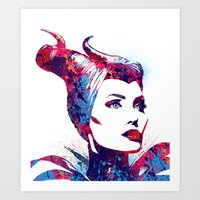 maleficent Art Prints featuring Maleficent by lauramaahs