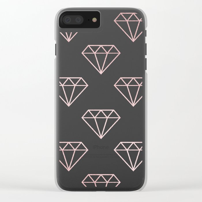 Simply Shimmer Diamonds in Rose Gold Sunset Clear iPhone Case