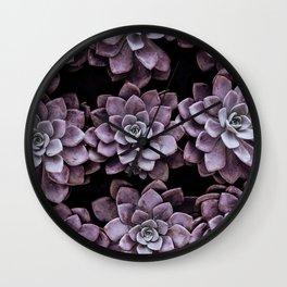 Violet Succulents Wall Clock