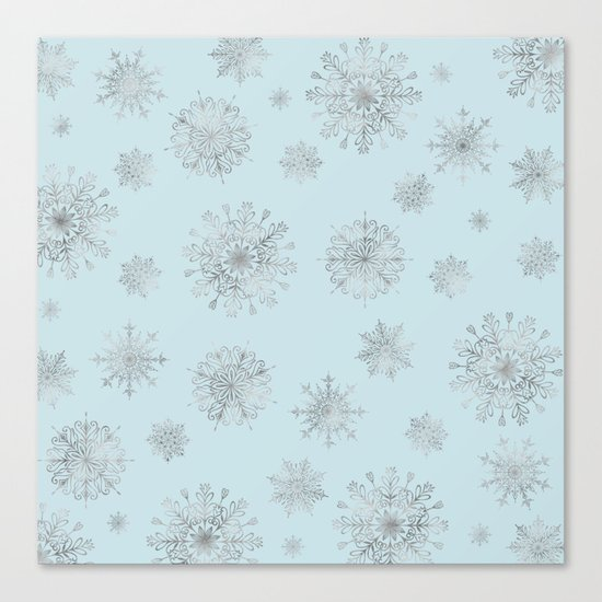 Assorted Silver Snowflakes On Light Blue Background Canvas Print