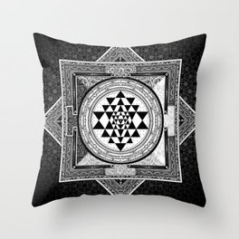 Sri Yantra Black & White Sacred Geometry Mandala Throw Pillow