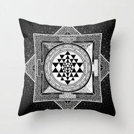 Mandala Sri Yantra Spiritual Zen Indian Bohemian Yoga Mantra Meditation Throw Pillow