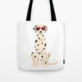 Dalmatian with heart eyes Tote Bag