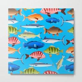Crowded fish aquarium pattern Metal Print