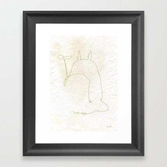 One line Totoro Framed Art Print