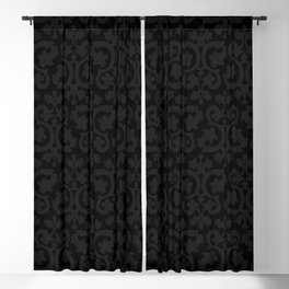 Black and Dark Grey Damask Pattern Blackout Curtain