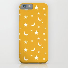 White moon and star pattern on orange background iPhone Case
