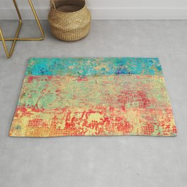 Brilliant Encounter, Abstract Art Turquoise Red Rug