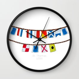St Thomas Nautical Flags Wall Clock