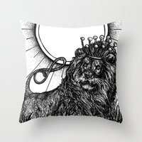 tarot Throw Pillows featuring Strength Tarot by Corinne Elyse