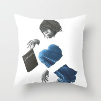 death note Throw Pillows featuring Death Note L by Papan Seniman