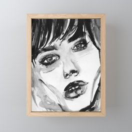 Original watercolor portrait, girl face with bangs black and white watercolor illustration Framed Mini Art Print
