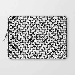 Black graphic squiggle tiles, abstract shapes, ethno-inspired Laptop Sleeve