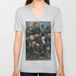 """Paul Cezanne """"Bouquet of flowers after Delacroix"""" Unisex V-Neck"""