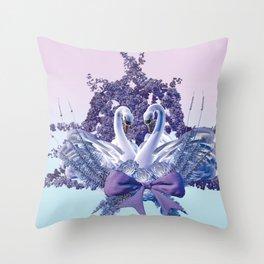 romantic swan couple Throw Pillow