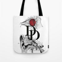 daredevil Tote Bags featuring Etude - Daredevil by Greg-guillemin