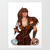 xena Art Prints featuring Xena the Warrior Princess by Jazmine Phillips