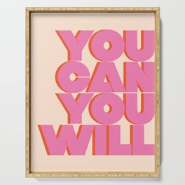 You Can You Will Do This / It , Bold Pink Motivational Vintage Typography on Light Beige , Text Art Serving Tray